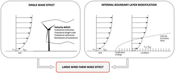 Large wind farm wake effect